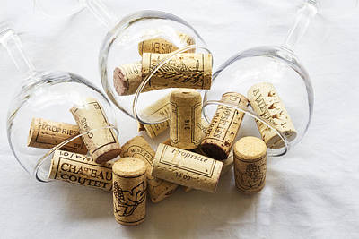 Wine Bottle Wall Art Photograph - Wine Corks And Wine Glasses  by Georgia Fowler