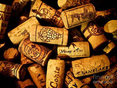 Stopper Photograph - Wine Corks - Art Version by Mark Miller