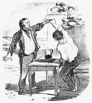 Wine Drinking, 1852 Print by Granger