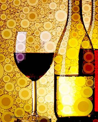 Wine For One  Print by Cindy Edwards