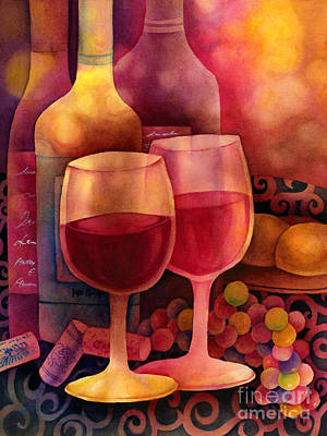 Table Wine Painting - Wine For Two by Hailey E Herrera
