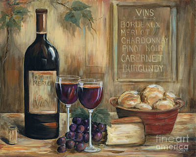 Wine-bottle Painting - Wine For Two by Marilyn Dunlap