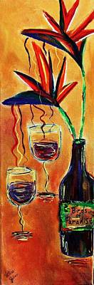 Glass Of Wine Mixed Media - Wine From Birds Of Paradise  by Victoria  Johns