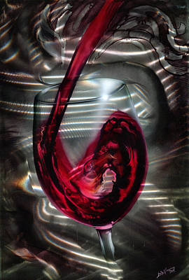 Wine Grapes Painting - Wine Glass by Luis  Navarro