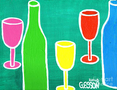 Wineglass Painting - Wine Glasss And Bottles With Green Background by Genevieve Esson