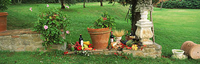 Wine Grapes And Foods Of Chianti Region Print by Panoramic Images
