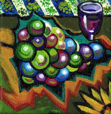 Wineglass Painting - Wine Grapes by Genevieve Esson