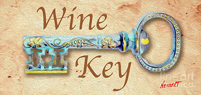 Cabernet Mixed Media - Wine Key Painting  by Jon Neidert
