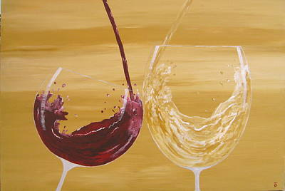 Glass Of Wine Painting - Wine Lovers. Sold by Owen Jones