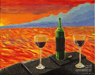 Unity Painting - Wine On Sunset Terrace by Vicki Maheu