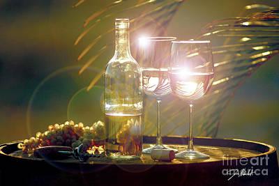 Wine Barrel Mixed Media - Wine On The Barrel by Jon Neidert