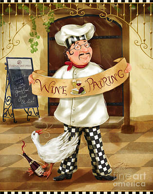 Wine Mixed Media - Wine Pairing Chef by Shari Warren