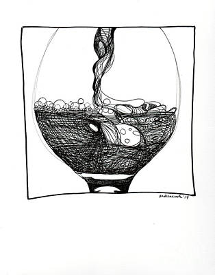 Merlot Drawing - Wine Pour by Andrea Cook