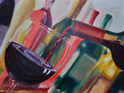 Pouring Wine Painting - Wine Pour IIi by Donna Tuten