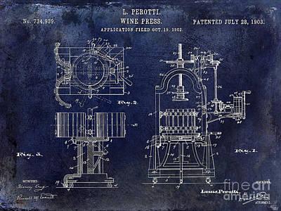 Wine Press Patent 1903 Blue Print by Jon Neidert