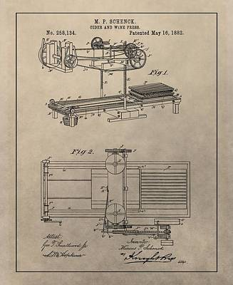 Grape Mixed Media - Wine Press Patent by Dan Sproul