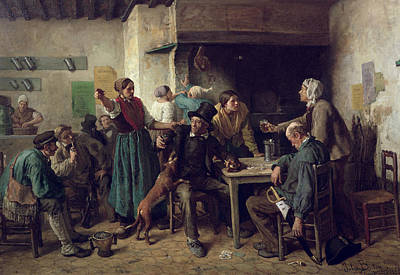 Playing Cards Photograph - Wine Shop Monday, 1858 Oil On Canvas by Jules Breton