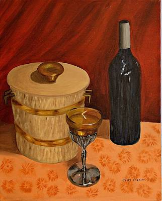Bottle Of Wine On The  Table Print by Suely Cassiano