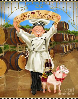 Tasting Mixed Media - Wine Tasting Chef by Shari Warren