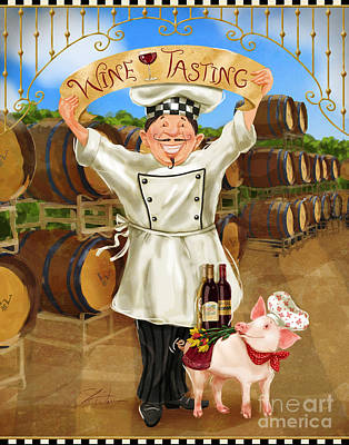 Pig Mixed Media - Wine Tasting Chef by Shari Warren