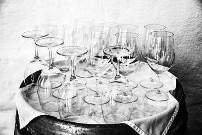 Wine Tasting Glasses In Black And White Print by Georgia Fowler
