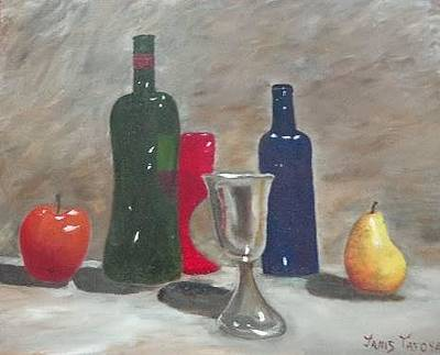 Bread And Cheese Painting - Wine Tasting by Janis  Tafoya