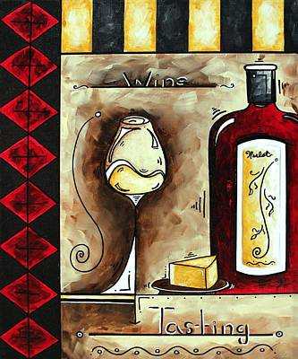 Wine Painting - Wine Tasting Original Madart Painting by Megan Duncanson