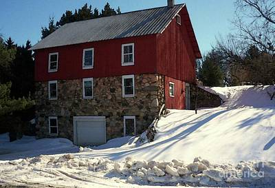 Red Barn In Winter Photograph - Winery Barn In Winter by Desiree Paquette