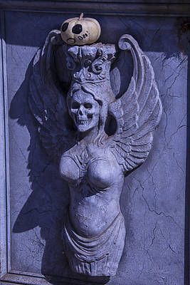 Skull Photograph - Winged Death Statue by Garry Gay