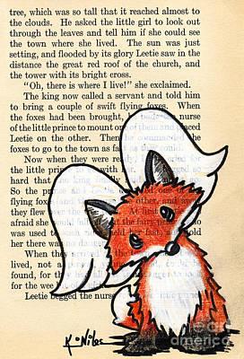 Winged Fox Print by Kim Niles
