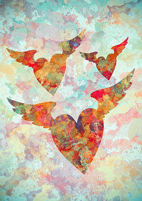 Winged Hearts Watercolor Painting Print by Georgeta Blanaru