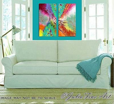 Turquoise Photograph - Wings Of Happiness Diptych by Julia Fine Art And Photography
