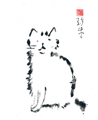 Winking Cat Print by Janet Gunderson