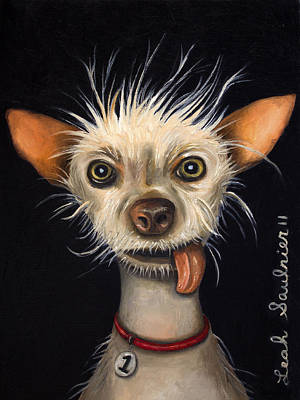 Winner Of The Ugly Dog Contest 2011 Print by Leah Saulnier The Painting Maniac
