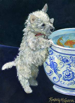 Westie Terrier Painting - Winnie The Koi Watcher by Kimberly McSparran