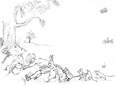 Winnie The Pooh And Crew In Pen  And Ink After E H Shepard Print by Maria Hunt