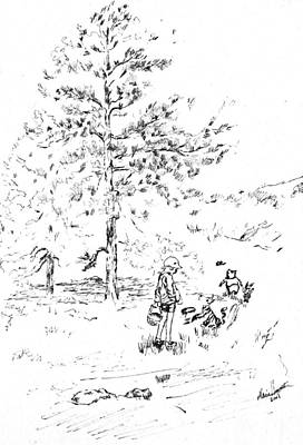 Winnie The Pooh Goes On A Picnic   After E H Shepard Print by Maria Hunt