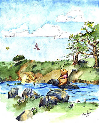 Pen And Ink Painting - Imagining The Hunny  After E  H Shepard by Maria Hunt