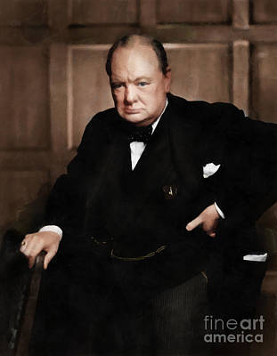Statesmen Digital Art - Winston Churchill by Vincent Monozlay