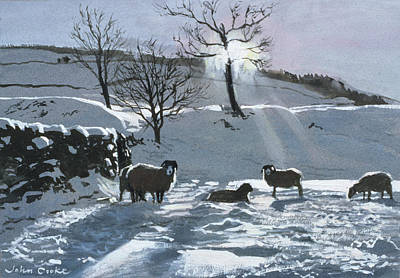 Winter Afternoon At Dentdale Print by John Cooke