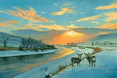 Winter Along The Yellowstone Print by Paul Krapf