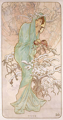 Winter Landscapes Drawing - Winter by Alphonse Marie Mucha