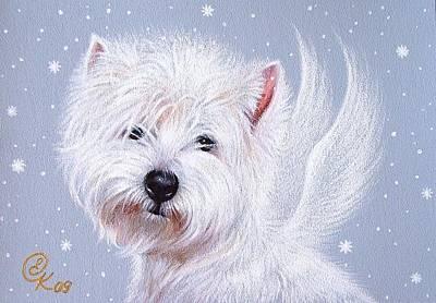 Puppy Mixed Media - Winter Angel - Westie by Elena Kolotusha