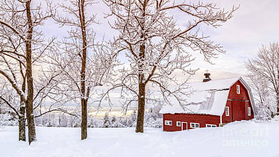 Red Barn. New England Photograph - Winter Arrives by Edward Fielding