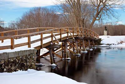Winter At Historic Old North Bridge Print by Brian Jannsen