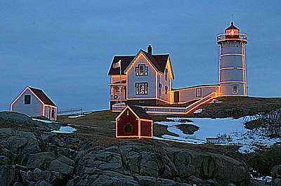 Winter At Nubble Light Original by Suzanne DeGeorge