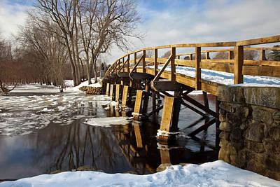 Winter At The Historic Old North Bridge Print by Brian Jannsen