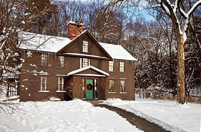 Winter At The Louisa May Alcott Home Print by Brian Jannsen