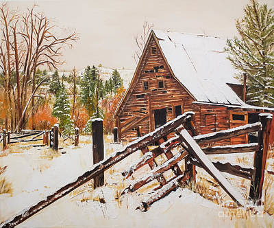 Old Cabins Painting - Winter - Barn - Snow In Nevada by Jan Dappen