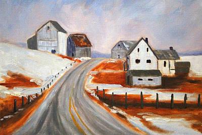Winter Barns Print by Nancy Merkle